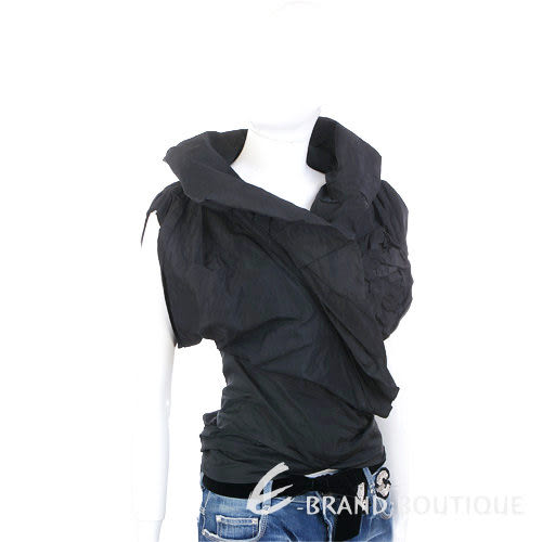 KENZO-antonio marras 皺褶花朵飾綁帶上衣(黑色) 0520373-01