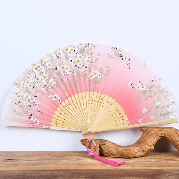 扇子 古風櫻花日式折扇真絲混紡折扇舞蹈扇和風女扇中國風
