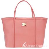 DOLCE & GABBANA 粉橘色小牛皮購物包(內裡豹紋) 1230137-39