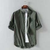 七分袖襯衫男士韓版修身潮流帥氣休閒亞麻短袖襯衣棉麻夏季寸外套 快速出貨