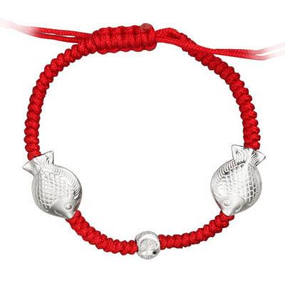 雪銀 99 純銀 紅繩手鏈