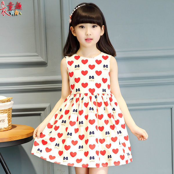 衣童趣 ♥中大女童韓版 甜美無袖 愛心洋裝 正式場合 休閒款度假風洋裝