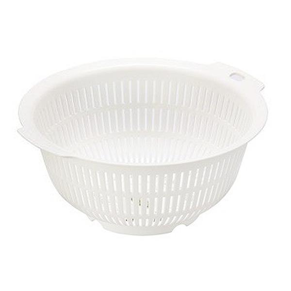 小禮堂 Inomata 日本製 圓形瀝水籃 (白色款) 4905596-01116