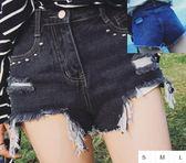 EASON SHOP(GU1523)小水洗鉚釘毛邊抽鬚磨破洞高腰牛仔短褲S-L深藍黑色丹寧流蘇熱褲刷破割破洞顯瘦