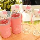 【Miss Sugar】【99免運】無嘴貓 透明玻璃隨身水壺水瓶