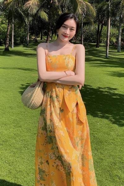 長洋裝 度假式洋裝露腰系帶設計油畫感吊帶連身裙度假長裙TCF22紅粉佳人