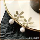 『坂井.亞希子』925純銀小清新感金色小雛菊珍珠耳環 -單一色系