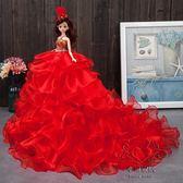 大號婚紗娃娃大裙芭芘比洋娃娃3D真眼擺件 生日新年禮物玩具白雪公主【幸福家居】