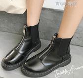 馬丁靴  鞋子女英倫風短靴皮面粗跟套腳短筒切爾西靴學院風學生馬丁靴女 育心小賣館