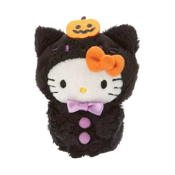 小禮堂 Hello Kitty 迷你沙包玩偶 絨毛玩偶 沙包娃娃 (黑橘 2020萬聖節) 4550337-00100