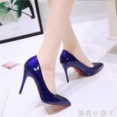 高跟鞋鞋子女裸色細跟 尖頭黑色工作單鞋女漆皮藍色大碼 全館免運
