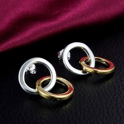 925純銀耳環 (耳針式)-雙色環扣生日情人節禮物女飾品73au51【巴黎精品】