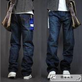 秋冬季牛仔褲男直筒寬松款長褲子加肥加大碼胖子粗腿肥佬休閑男裝