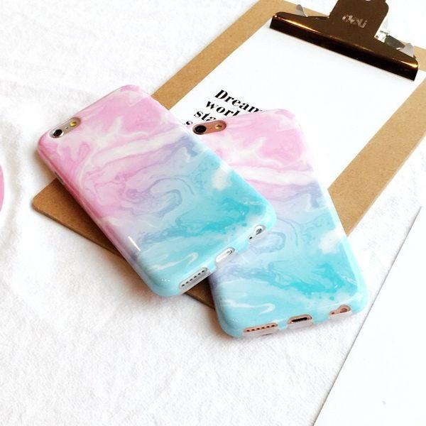 iPhone手機殼 韓國夢幻粉藍漸層 大理石紋 矽膠軟殼全包 蘋果iPhone7/iPhone6手機殼
