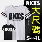ToGetheR+專館上市【BXT0012】大尺碼S~4L,RXXS條紋袖口撞色風格精梳棉短袖上衣(二色)