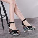 坡跟涼鞋女粗跟夏季2021新款韓版性感一字帶厚底防水台魚嘴高跟鞋【快速出貨】