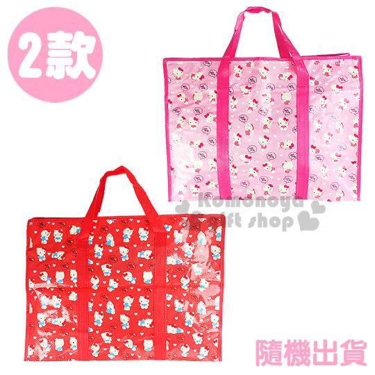 〔小禮堂韓國館〕Hello Kitty 側背購物袋《特大.2款隨機出貨.紅/粉》 8809416-25361