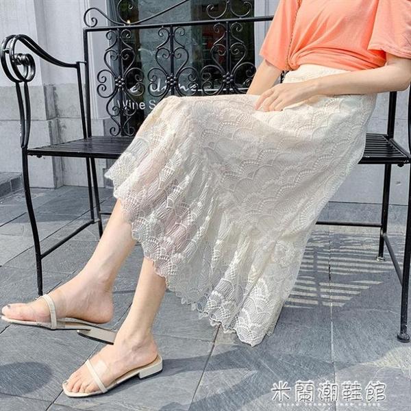 蕾絲半身裙 網紗蕾絲裙半身裙中長款新款a字裙子女夏學生韓版仙女裙長裙 快速出貨