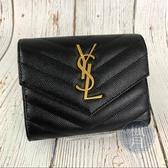 BRAND楓月 SAINT LAURENT YSL 403943 經典 黑 魚子醬 Y字紋 短夾 皮夾 錢包