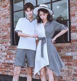 【雙十二】秒殺[]同色系情侶裝夏裝套裝2018新款韓版潮流短袖T恤男QLZ夏季連身裙女gogo購
