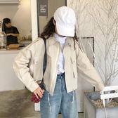 純色抽繩短款工裝外套女學生秋裝韓版百搭寬鬆polo領長袖夾克上衣