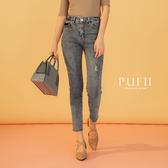PUFII-牛仔褲 微刷破彈性牛仔窄管褲-0326 現+預 春【CP18226】