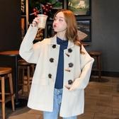 秋冬2019新款復古英倫風設計感洋氣減齡翻領寬鬆長袖毛呢外套女裝