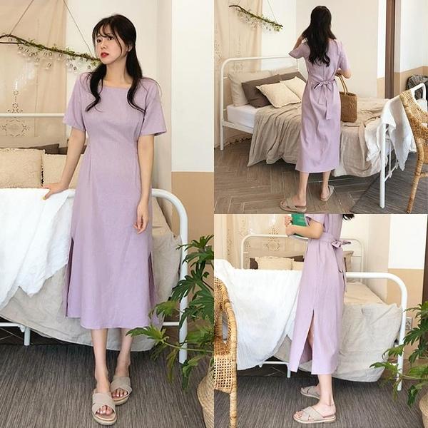 洋裝 韓國夏季新款復古法式小眾chic方領收腰系帶開叉氣質紫色連身裙女