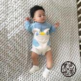 蓓萊樂嬰兒連體衣服寶寶春裝三角哈衣新生兒裝睡衣包屁衣0歲3月【黑色地帶】