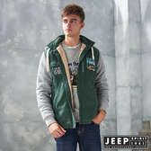 【JEEP】撞色刷毛可拆帽長袖外套 (森林綠)