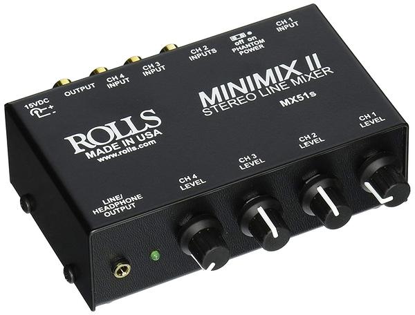 美製ROLLS MX51s MiniMix II立體四軌MIC/LINE微型混音器(含稅保固)