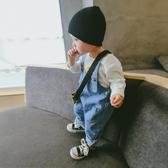 嬰兒背帶褲子春秋男女薄款0-1小孩可開襠開檔