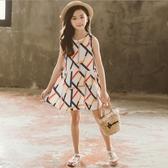 衣童趣♥韓版中大女童 甜美洋裝 幾合印花 夏日連身裙