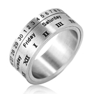 《 QBOX 》FASHION 飾品【RHF287】精緻個性時尚簡約轉動日曆寬版拉絲面鈦鋼戒指/戒環