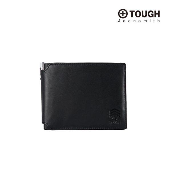 【TOUGH】低調壓紋TOUGH Logo皮革多卡夾短夾(附簽帳筆)(黑)