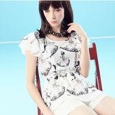【SHOWCASE】芭蕾女孩荷葉袖縮腰顯瘦上衣(白)