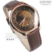 LOVME 簡約風格品味 藍寶石抗磨水晶玻璃 真皮錶帶 玫瑰金x咖啡 男錶 VL1053M-4C-A41