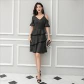 中大尺碼洋裝 小禮服短袖露肩性感蛋糕裙氣質舒適連衣裙  L-5XL #wm805 ❤卡樂❤