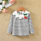 女童長袖T恤春裝新款寶寶花瓣領打底衫兒童櫻桃上衣潮