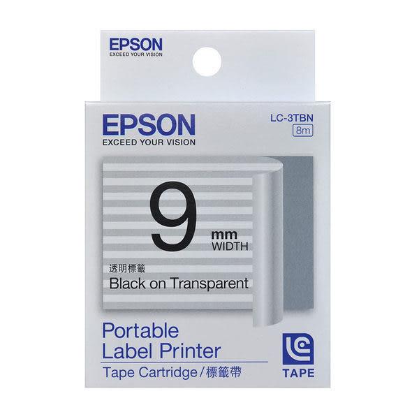 [哈GAME族]免運費 可刷卡 EPSON LC-3TBN 標籤機色帶 標籤帶 透明底黑字 9mm