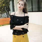秋冬單一價[H2O]肩帶可調節兩穿刺袖雪紡上衣-黑/白色 #8655004