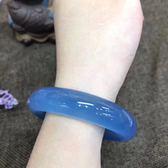 玉手鐲 藍玉髓手鐲冰種玉髓純天然原色細款超冰透強熒光瑪瑙手鐲 巴黎春天