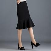 現貨 魚尾裙黑色魚尾裙半身裙女裙子中長款毛呢高腰顯瘦包臀裙【快速出貨】