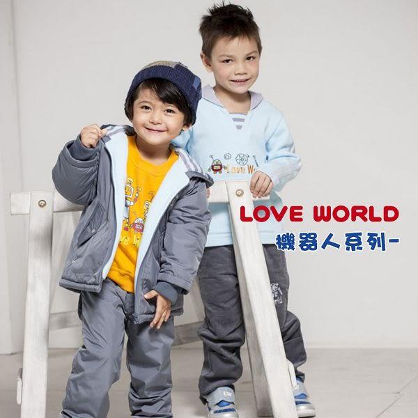 【愛的世界】純棉舖棉衣連褲-藍/3M~1歲-台灣製- ★秋冬連身推薦