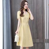 依Baby 洋裝 新款連身裙法式名媛港味復古氣質收腰顯瘦山本風短裙