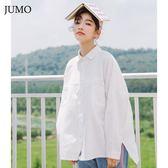 2018秋冬新款韓版寬鬆襯衣加絨加厚學生休閒上衣長袖白色棉襯衫女  初見居家