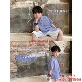 童裝新款韓版男童短袖襯衫寶寶半袖襯衣條紋洋兒童【齊心88】
