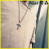 【伊人閣】十字架 十字架男士項鍊鈦鋼吊墜個性配飾品首飾嘻哈純銀掛飾