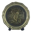 【收藏天地】台灣紀念品*台灣景點圓形金色飾盤