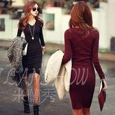 加絨性感打底裙 長袖連身裙 中長款修身包臀洋裝